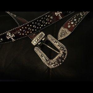 Blazin Roxx Western Belt Womens Tooled Beads